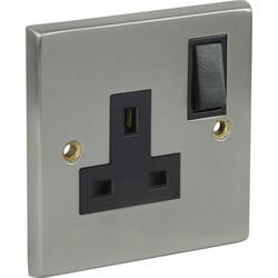 Satin Chrome / Black Switched Socket