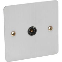 Flat Plate Satin Chrome TV Socket Outlet