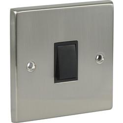 Satin Chrome / Black Double Pole Switch