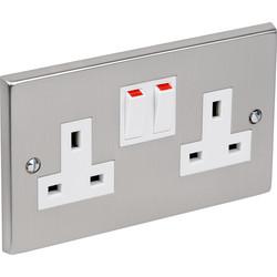 Satin Chrome / White Switched Socket