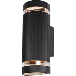 Helios IP44 Up & Down Black Wall Light