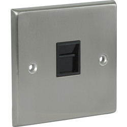 Satin Chrome / Black Telephone Socket
