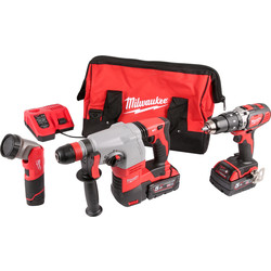 Milwaukee M18SET2B-513B 18V Li-Ion Cordless Combi Drill, SDS Hammer Drill & M12 LED Torch Kit