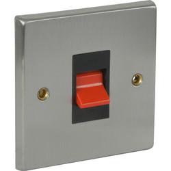Satin Chrome / Black Double Pole Switch 45A