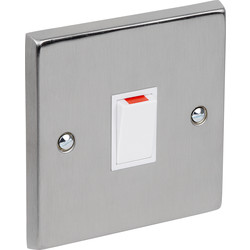 Satin Chrome / White Double Pole Switch