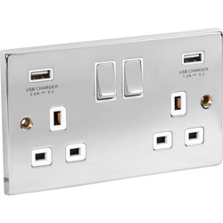 Chrome USB Switched Socket