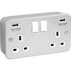 Metal Clad USB Switched Socket