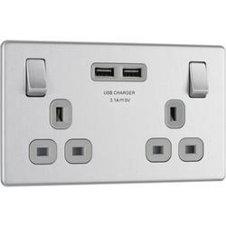 Screwless Flat Brushed Steel 13A SP USB Switch Socket