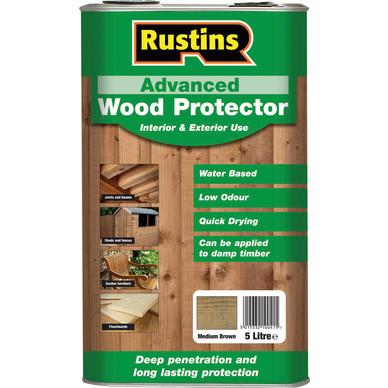 Rustins Advanced Wood Protector 5L Medium Brown