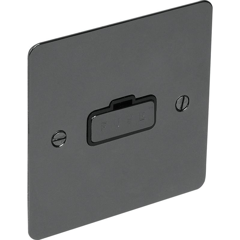 Nouveau 4 x électrique plat Nickel Noir fusionnés spur 13A chaque freepost.uk vendeur