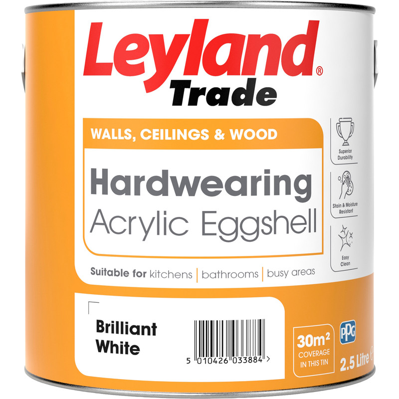 leyland trade acrylic eggshell paint brilliant white 2 5l. Black Bedroom Furniture Sets. Home Design Ideas