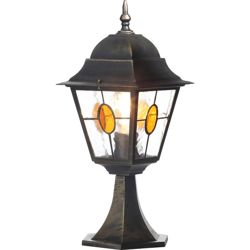 Dark Verdigris Green Ornate Pedestal Light: Kent Outdoor Pedestal Light Black & Gold Effect