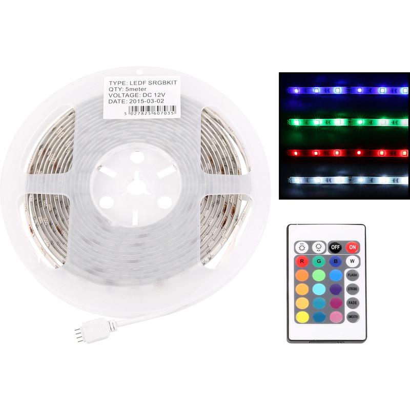 Kitchen Under Cabinet 5050 Bright Lighting Kit Cool White: LED IP65 RGB Flexible Strip Kit 5m Remote Controlled