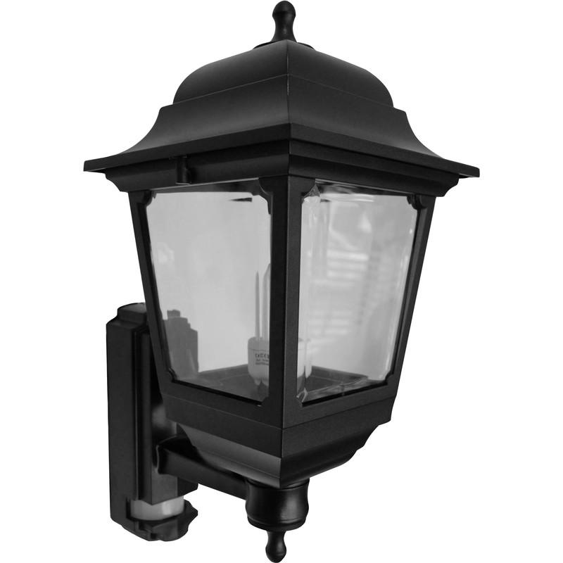 asd 4 sided coach lantern 100w 100w bc black pir toolstation