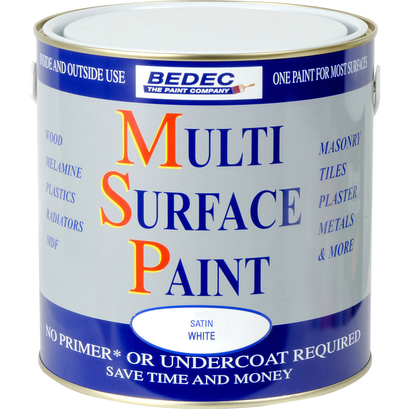 bedec multi surface paint satin white 2 5l toolstation. Black Bedroom Furniture Sets. Home Design Ideas