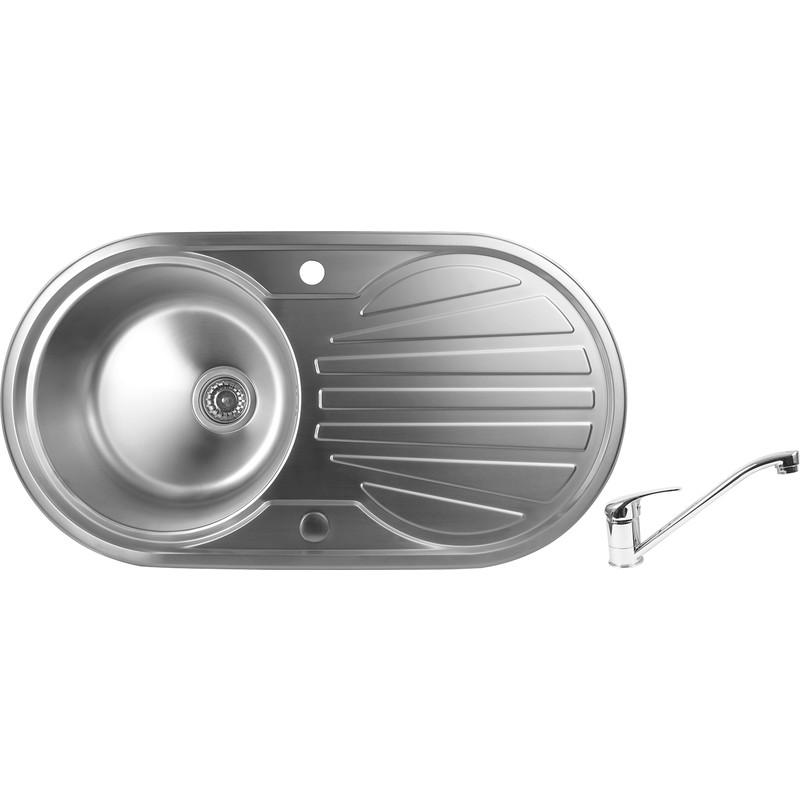 Bowl Kitchen Sink : Stainless Steel Round Bowl Kitchen Sink & Drainer 915 x 485 x 200mm ...