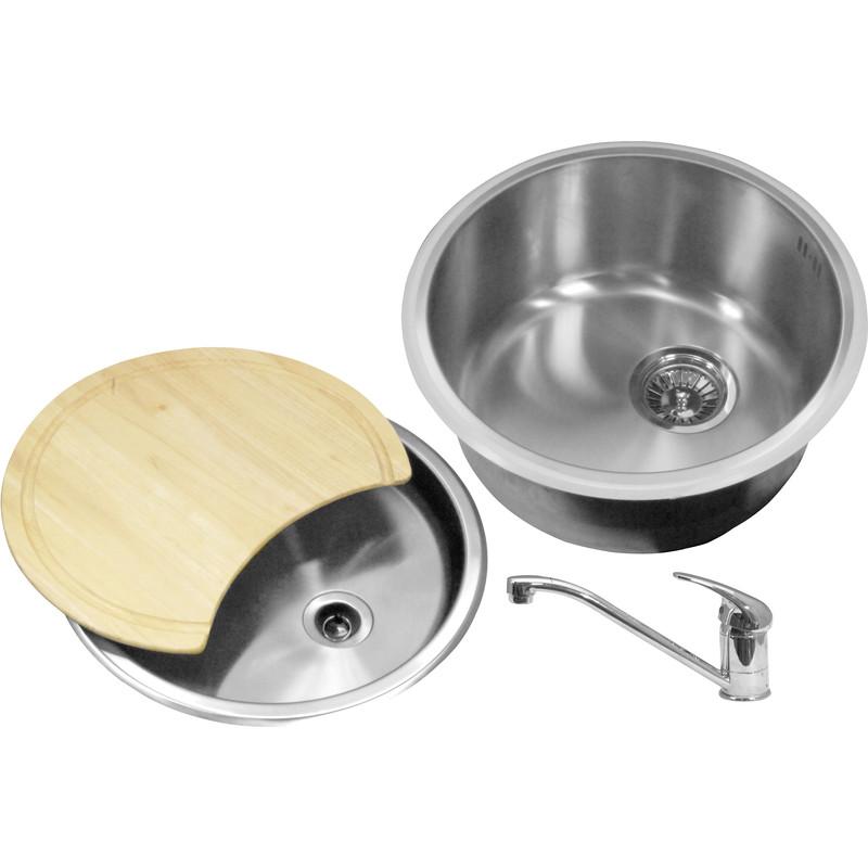 Bowl Kitchen Sink : Round Bowl Kitchen Sink & Drainer Kit 440 x 185mm Deep -