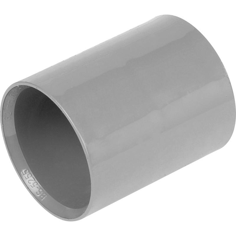 NEW 2 X Plumbing Solvent Weld Straight Coupling 32mm Grey Each FreePost.UK