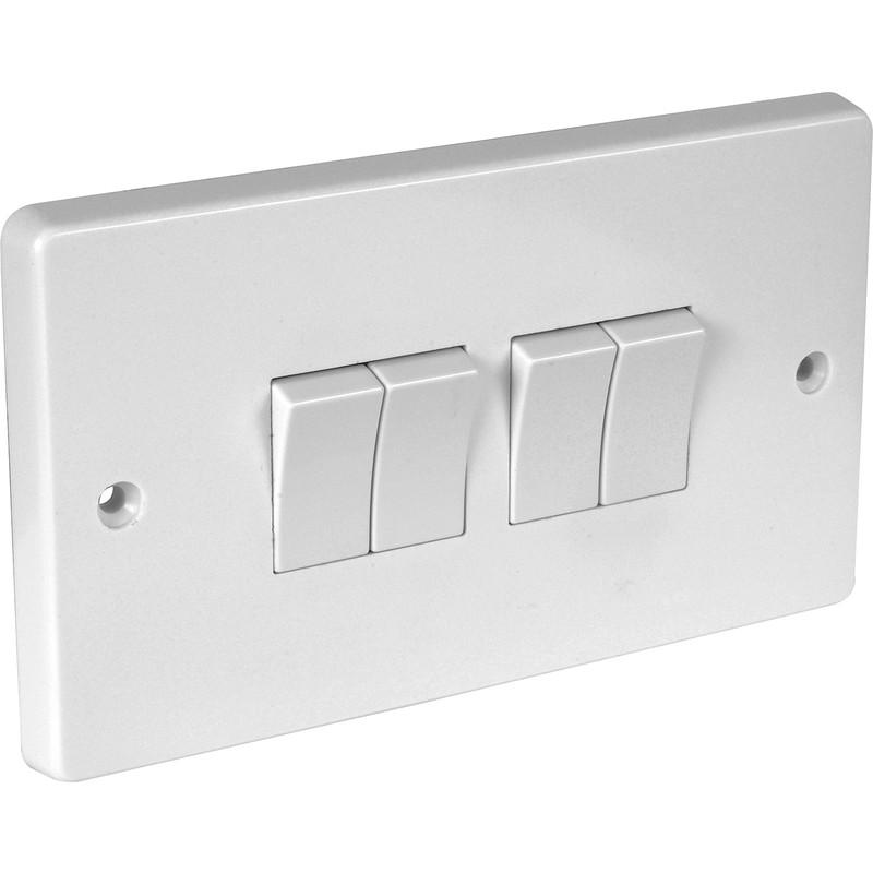 NEW 2 X Crabtree 10A Light Switch 4 Gang 2 Way Each FreePost UK ...