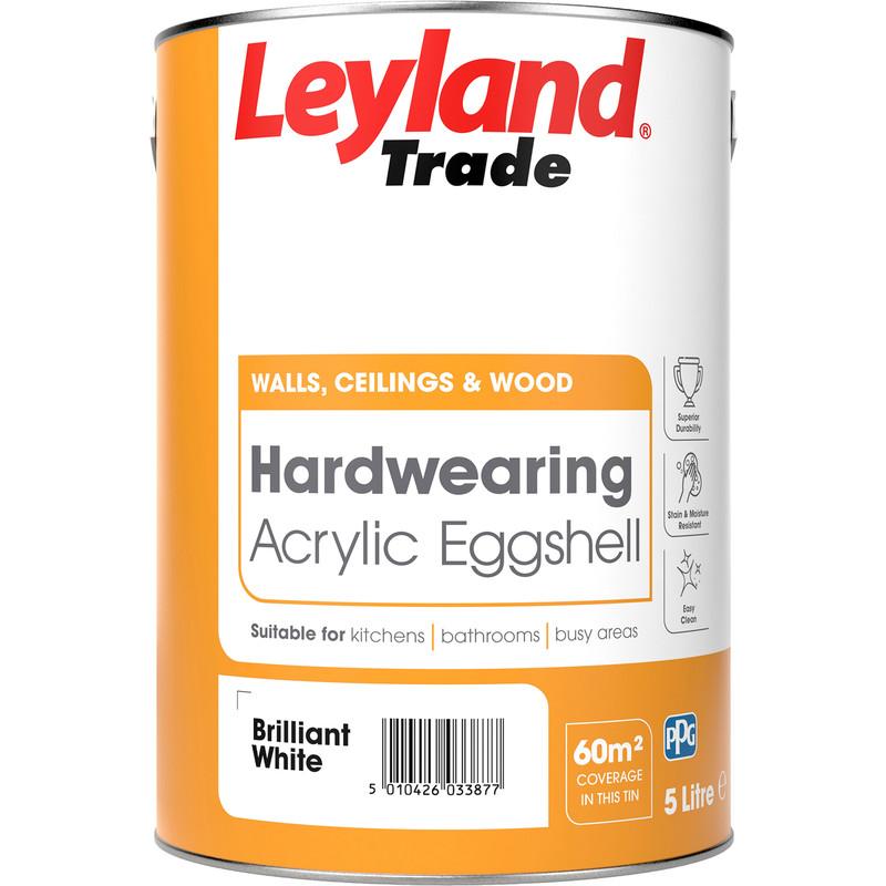 leyland trade acrylic eggshell paint brilliant white 5l. Black Bedroom Furniture Sets. Home Design Ideas