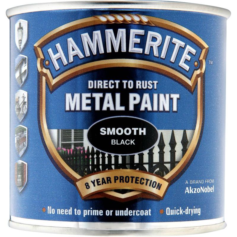 Hammerite Metal Paint Smooth Black 250ml - Toolstation