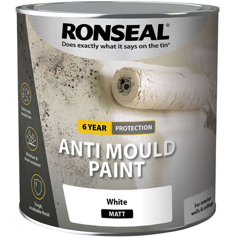 ronseal 6 year anti mould paint 2 5l matt white toolstation